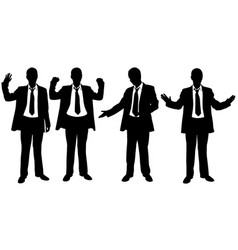 set of businessmen with hand gestures vector image vector image