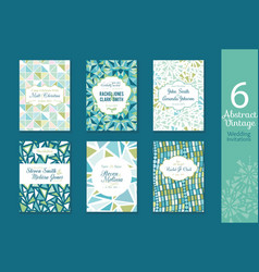 Six abstract vintage wedding invitations save the vector