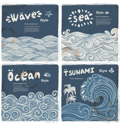 Vintage set of banners with ethnic waves vector