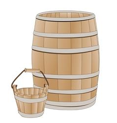 Wooden barrel and bucket vector