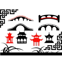 Collection of asian bridges vector