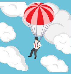 Isometric businessman flying with parachute vector