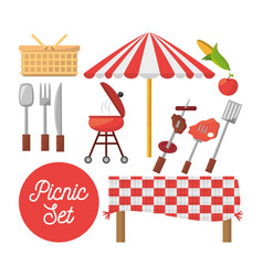 Picnic set equipment objects image vector
