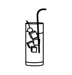 silhouette water freshness drink cocktail glass vector image