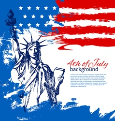 4th of july background with american flag vector