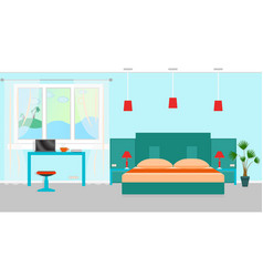 Bedroom interior with a furniture and workplace vector
