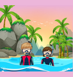 Two divers at seaside vector