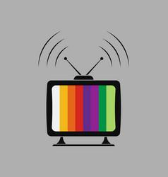 icon tv viewing gear splash vector image