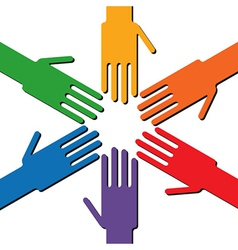 Colorful rainbow ring of hands vector image