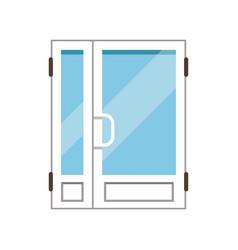 Double glass paned plasstic front doors closed vector