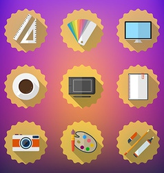 Designers stuff flat icon set include desktop vector