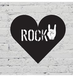 rock on symbol on white bricks concept vector image