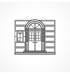 Facade arch door black line icon vector