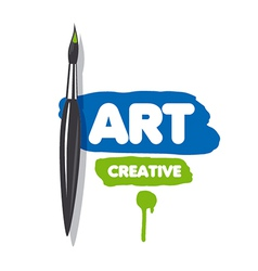 Logo brush and blue and green paint vector
