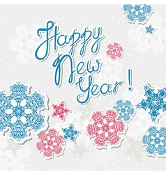 Happy new year template with snowflakes vector