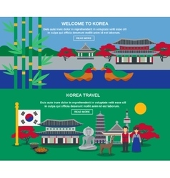 Korean culture travel horizontal banners set vector