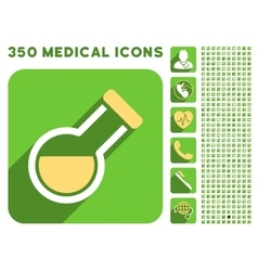 Retort icon and medical longshadow icon set vector
