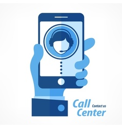 Mobile in hand call center in blue vector
