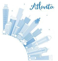 Outline Atlanta Skyline with Blue Buildings vector image