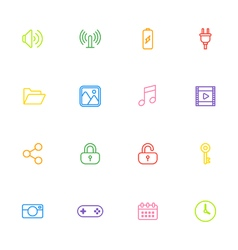 Colorful line web icon set vector