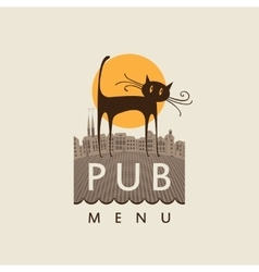 pub with a cat on old town vector image