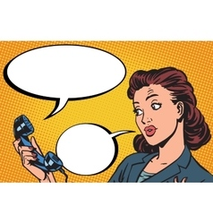 Female phone conversation communication vector