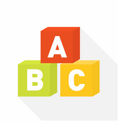Abc blocks flat icon for education vector