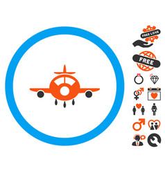 Aircraft icon with valentine bonus vector