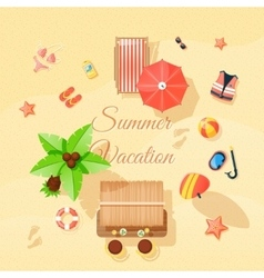 Beach Elements Set Top View Poster vector image