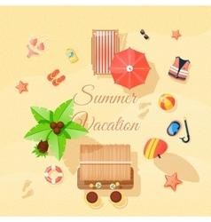 Beach elements set top view poster vector