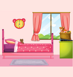 Bedroom with pink bed and curtain vector