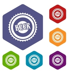 Beer bottle cap icons set vector image