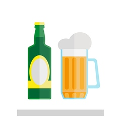 Beer glass and bottle isolated vector