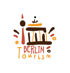 Berlin tourism logo template hand drawn vector