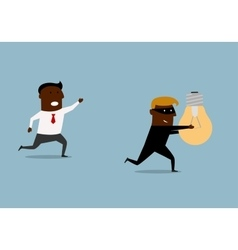 Black businessman chasing thief with idea vector