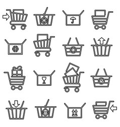 Black thin line shopping cart icons vector