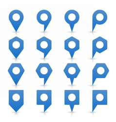 Blue blank map pin sign flat location icon vector