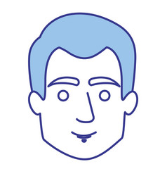Blue silhouette of guy with short hair vector