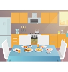Breakfast table flat vector