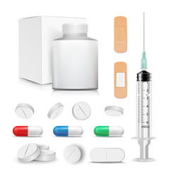 capsule pills and drugs set pharmaceutical vector image