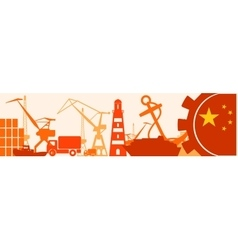 Cargo port relative icons set china flag in gear vector