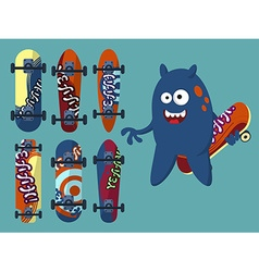 Collection of bright skateboard on a light vector image