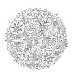 Coloring page with running deer and floral circle vector image vector image