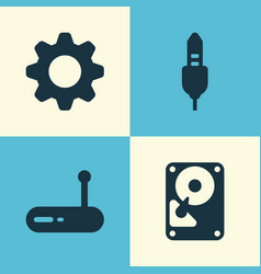 Computer icons set collection of hdd settings vector