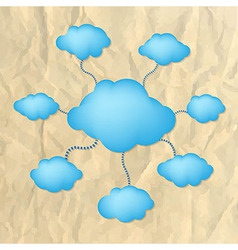 Crushed paper with blue clouds vector