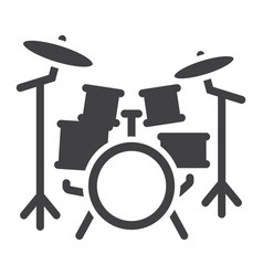 drum kit glyph icon music and instrument vector image vector image