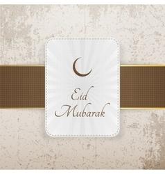 Eid mubarak decorative badge with ribbon vector