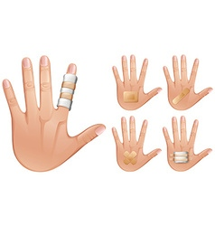 Fingers and hands wrapped with bandages vector image vector image