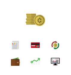 Flat icon finance set of document payment vector