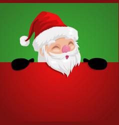 Funny cartoon of a peeping santa claus vector